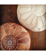 FREE SHIPPING Set of 2 Amazing Moroccan pouf Tan & Natural Pouf Best Sel... - $129.00