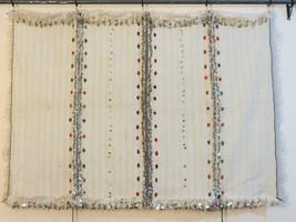 Moroccan Wedding Blanket, Handira, Tamizart, Berber Throw, Rug. Wool with Sequin - $169.00