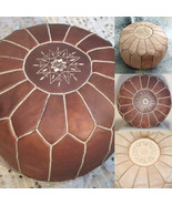 Natural & Dark Tan Set of 2 Moroccan pouf High Leather Quality, Ottoman ... - $119.00+