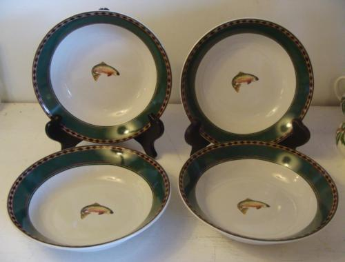 "4 Sakura Northwoods 7 1/2"" Soup Cereal Bowl Fish Rustic Cabin Dk Green Border"