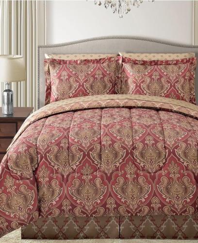 New TRISTAN 6pc Bedding Ensemble Comforter Set TWIN Red Gold Reversible
