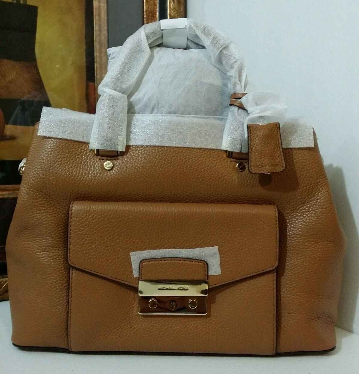 NWT MICHAEL MICHAEL KORS Haley Large Leather Satchel ACORN MSRP $$448