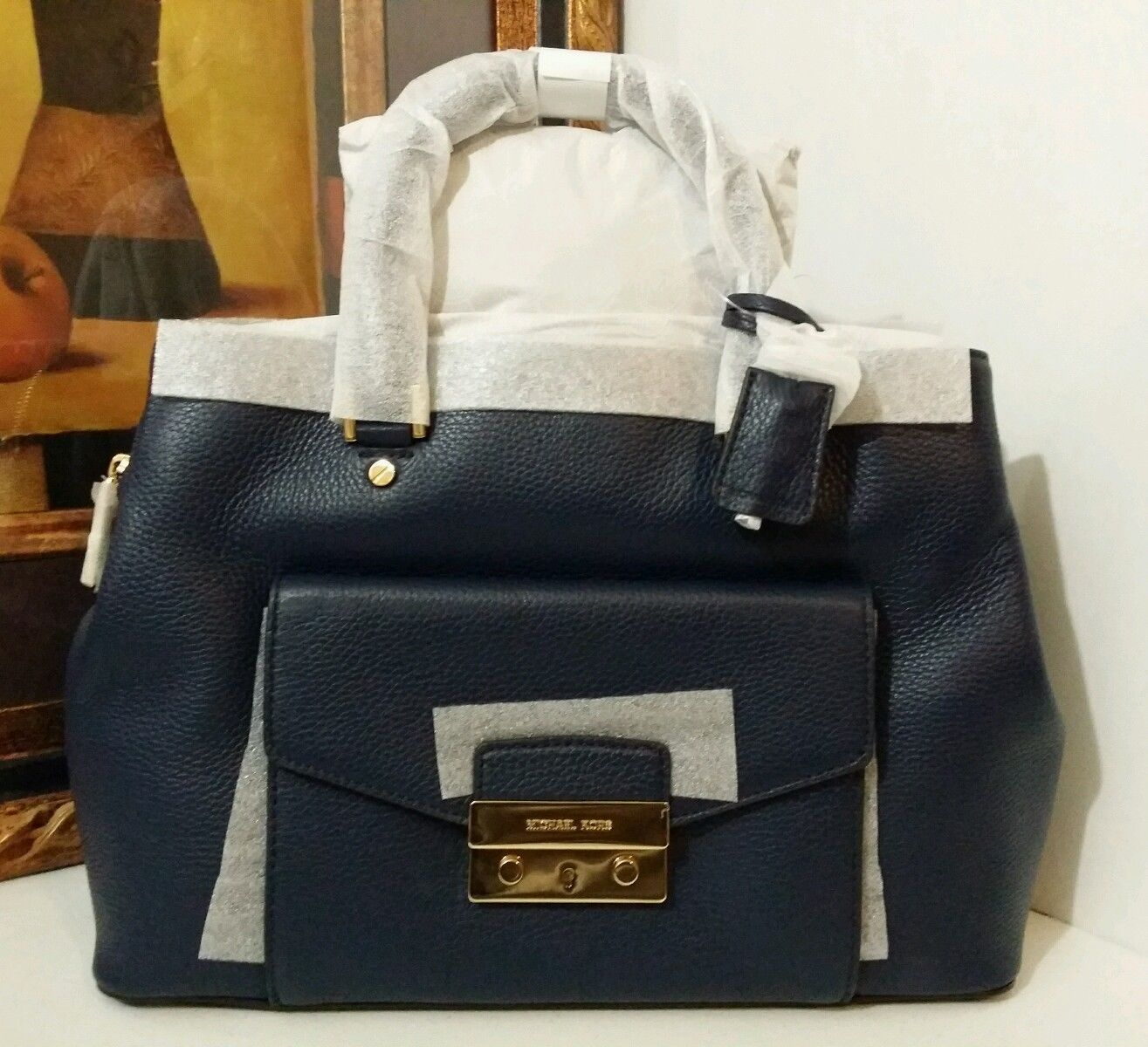NWT MICHAEL MICHAEL KORS Haley Large Leather Satchel NAVY MSRP $$448