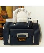 NWT MICHAEL MICHAEL KORS Haley Large Leather Satchel NAVY MSRP $$448 - $284.05