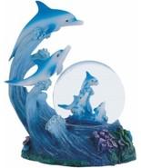 Refreshing blue ocean & dolphins resin Christmas gift figurine snow/wate... - $29.65