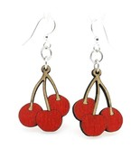Green Tree Jewelry Red Cherry and Stems Wooden Lasercut Earrings #1133 - $9.99