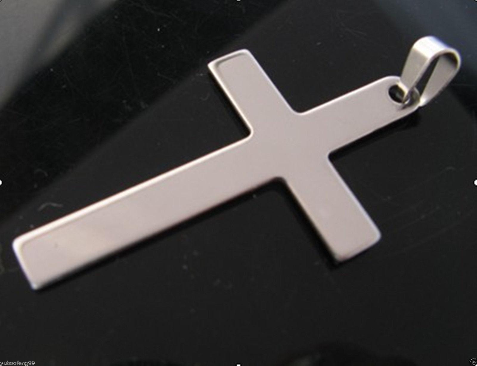 Men s l stainless steel cross pendant figaro mm