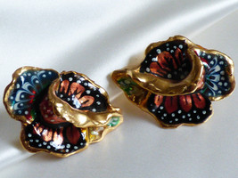 Gold tone hand painted  Iris Orchard flower earrings - $29.70