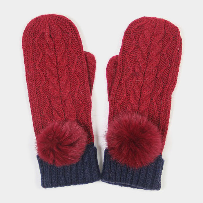 Burgundy Angora Pom Pom Two Tone Knit Mitten Gloves 317785