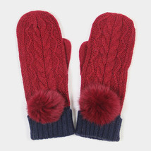 Burgundy Angora Pom Pom Two Tone Knit Mitten Gloves 317785 - ₨1,155.07 INR