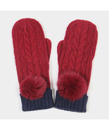 Burgundy Angora Pom Pom Two Tone Knit Mitten Gloves 317785 - $16.00