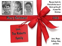 20 Printed Personalized Christmas Cards ~ style Wrapped Package w/3 photos - $23.38