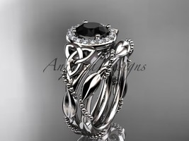 Fancy weddng ring set, Unique diamond celtic trinity knot engagement rin... - $1,850.00