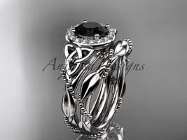 Platinum  diamond celtic trinity knot wedding set, Black Diamond CT7328S - $2,795.00