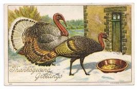 1908 Thanksgiving PostcardTurkeys Eating Tom Hen Embossed Julius Bien 9105 - $4.99