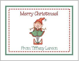 20 Printed Personalized Christmas Cards ~ Sweet Girl Elf - $17.77