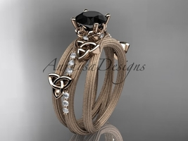 14kt rose gold diamond celtic trinity knot wedding ring, Black Diamond CT7329 - $1,695.00