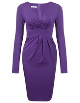 Women Sexy V-Neck Long Sleeve Solid Pleated Dress (Purple) - $44.95