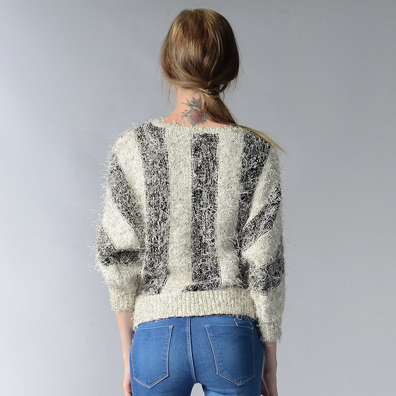 Hot Women's Clothing Sweaters stripe Bat Sleeve Mosaic Contrast Color round neck