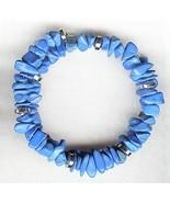 Blue Howlite Gemstone Chip Bracelet - $2.52