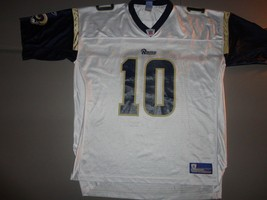 White St. Louis Rams #10 Mark Bulger NFL Football Screen Jersey Adult 2XL EXCEL - $29.09