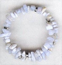 Blue Lace Agate Gemstone Chip Bracelet - $2.52