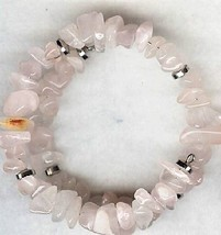 Rose Quartz Gemstone Chip Bracelet - $2.52