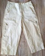 Nos New Lauren Ralph Hong Kong Made Cream 8 Women Cotton Nylon Capri Pants - $19.79