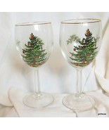 "Set of 4 Spode All Purpose Wine Glasses Christmas Tree 7"" - $29.00"