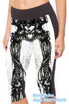 Women White Cool Skeleton Spandex Yoga Crop Leggings Skull Short Pants H... - $23.99