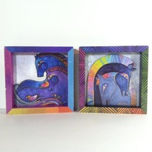 Laurel Burch Wall Art Box Layered Collage Abstract Horses Brony Interest... - $28.49