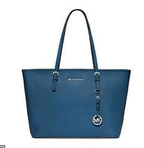 Michael Kors Jet Set Leather Travel Steel Blue Tote bag - $195.03