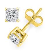 3 ct Princess Cut Solitaire Stud Earrings Lab Diamond 14k Yellow Gold Sc... - $109.12