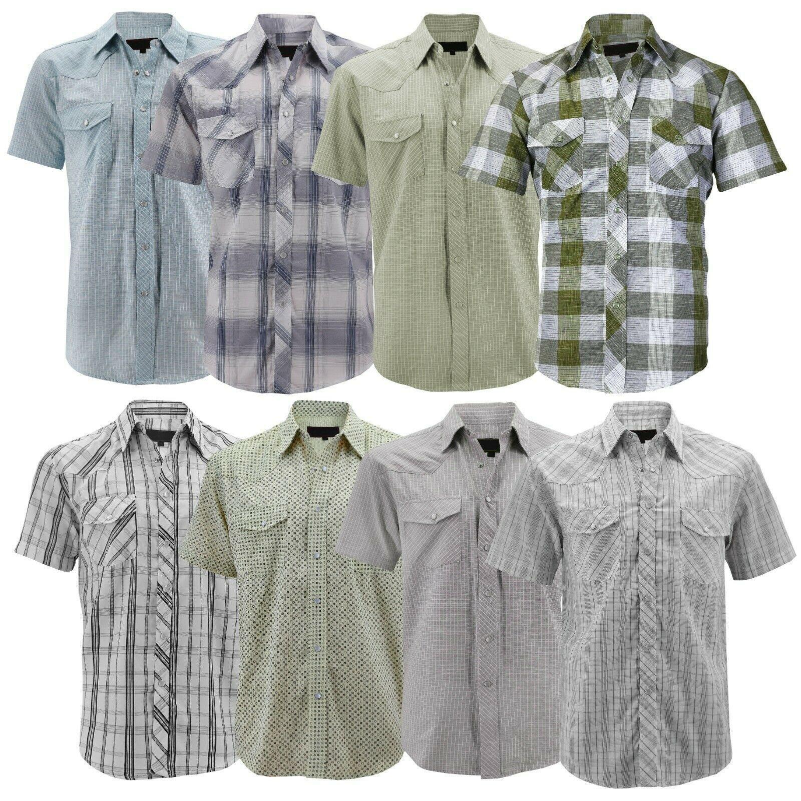 LW Men's Western Cowboy Pearl Snap Short Sleeve Cotton Rodeo Dress Shirt LW126S