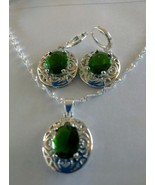 925 Sterling Silver Water Wave Chain emerald Pendant and Earrings - $29.99