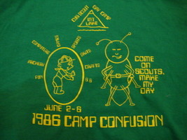 Vintage Cub Scout Day Camp Mt. Lake 1986 Camp Confusion Green Men's T Sh... - $18.80