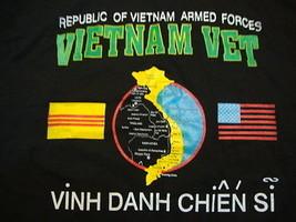 Vintage Republic Of Vietnam Armed Forces Vietnam Veteran Black Men's T Shirt XL - $15.98