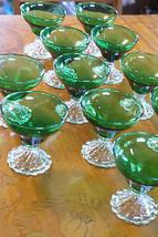 Old Vintage Forest Green Stemmed Glass Inspiration Burple Sherbet Anchor... - $20.00