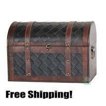 Antique Treasure Chest Vintage Wooden Leather P... - $132.99