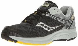 Saucony Herren Schwarz/Grau/Gelb Cohesion 10 Laufen Läufer Schuhe Sneaker Nib
