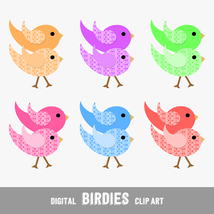 Digital Clip Arts Birdies with Dots - Print or Digital Scrapbook (PU & CU) - $4.00