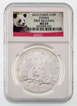 2013 China 1 Oz. Silver Panda S10Y Graded by NGC as MS-69 First Releases - $54.45
