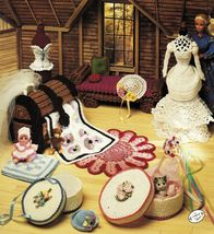 Annies Attic Fashion Doll Furniture DayBed Trunk Bride Mannequin Crochet Pattern - $13.99
