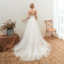 Women's Sleeveless Deep V Neck Backless Bride Lace Evening Gowns ALine Wedding D image 4
