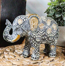 """Silver Gold Patterned Elephant Statue 5.25""""L Feng Shui Elephant Calf Fig... - $17.99"""