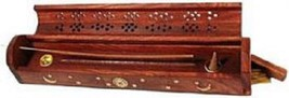 Coffin Incense Burner Carved Wood Brass Sun Moon Inlay cones & Sticks