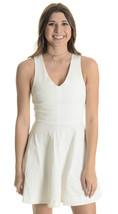 XS NEW Joie White V-Neck Norton Fit & Flare Skirt Dress Jacquard 1090-D1049 - $44.70