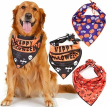 Halloween Dog Bandana 3 Pack Orange Purple Black Costume for Small Mediu... - $21.78
