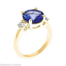 TANZANITE & DIAMOND 3-STONE RING 10mm ROUND CUT 14KT YELLOW GOLD 4.62 CA... - £3,861.97 GBP