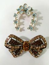 Jewelry Craft Lot Brooches Missing Rhinestone Harvest Repair Coro Uranium Glass - $19.99